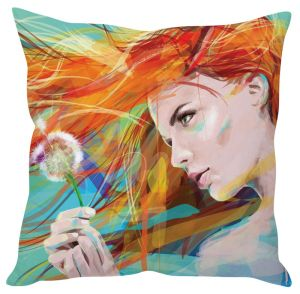 Stybuzz Girl Painting Art Blue Cushion Cover