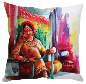 Stybuzz Rajasthani Woman Multicolor Cushion Cover