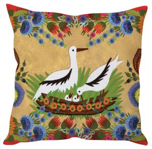 Stybuzz Birds Nest Art Beige Cushion Cover
