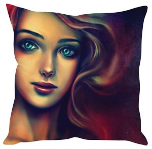 Stybuzz Girl Painting Art Redd Cushion Cover