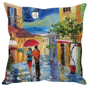 Stybuzz Couple Walking In Rain Painting Art Multicolor Cushion Cover