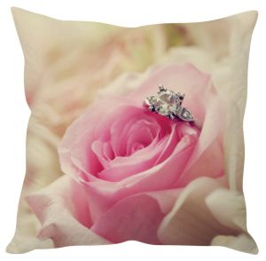 Stybuzz Rose With Ring Pink Cushion Cover