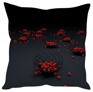 Stybuzz Red Balls Abstract Art Black Cushion Cover