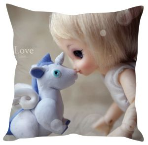 Stybuzz Doll And Unicorn Love Beige Cushion Cover