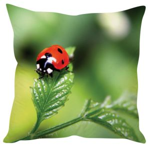 Stybuzz Lady Bug On Leaf Green Cushion Cover