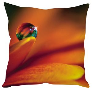 Stybuzz Dew Drop On Petal Orange Cushion Cover