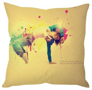 Stybuzz Dancing Quote Beige Cushion Cover