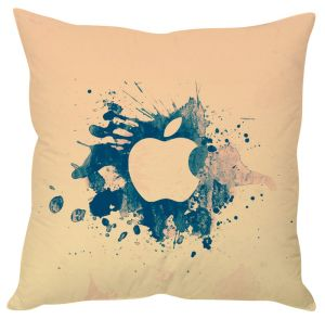 Stybuzz Abstract Apple Logo Beige Cushion Cover
