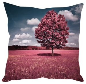 Stybuzz Beautiful Red Tree In Field Pink Cushion Cover