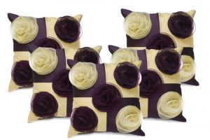 Stybuzz Purple Embroidered Cushion Covers - Set Of 5 - (product Code - Embr00001)