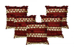 Stybuzz Maroon Embroidered Cushion Covers - Set Of 5 - (product Code - Embr00006)