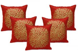Stybuzz Red Gold Paint Cushion Covers - Set Of 5 - (product Code - Embr00013)
