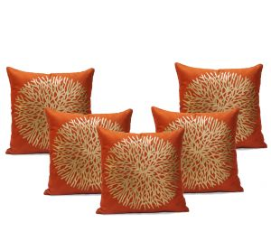 Stybuzz Beige Embroidered Cushion Covers - Set Of 5 - (product Code - Embr000032)