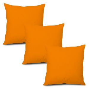 Stybuzz Orange Solid Cushion Cover - Set Of 3 - (product Code - Sdo00003)