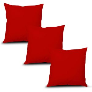 Stybuzz Red Solid Cushion Cover - Set Of 3 - (product Code - Sdr00003)