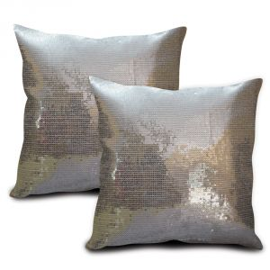Sephora Silver Sequin Cushion Cover - Set Of 2