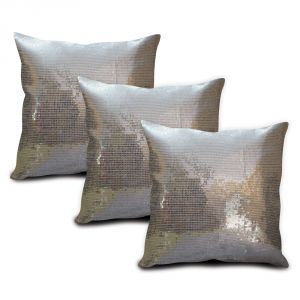Sephora Silver Sequin Cushion Cover - Set Of 3