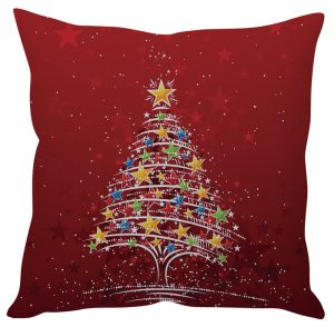 Stybuzz Christmas Tree Art Red Cushion Cover