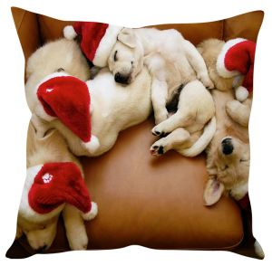 Stybuzz Cute Puppies With Santa Hats Christmas Cushion Cover