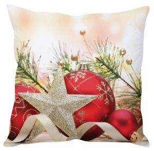 Stybuzz Golden Star And Balls Christmas Cushion Cover