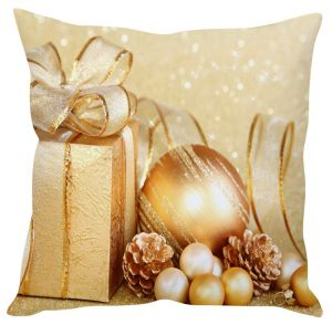 Stybuzz Golden Delights Christmas Gift Cushion Cover