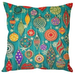 Stybuzz Christmas Decoration Print Blue Cushion Cover