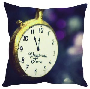 Stybuzz Christmas Time Clock Cushion Cover