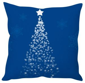 Stybuzz Blue Star Christmas Tree Cushion Cover