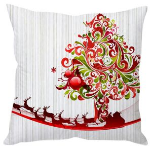 Stybuzz Abstract Art Christmas Tree White Cushion Cover