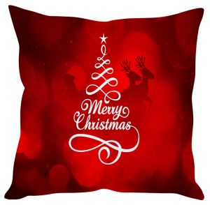 Stybuzz Merry Christmas Art Red Cushion Cover