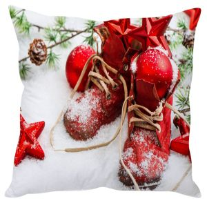 Stybuzz Christmas Shoes In Snow Cushion Cover