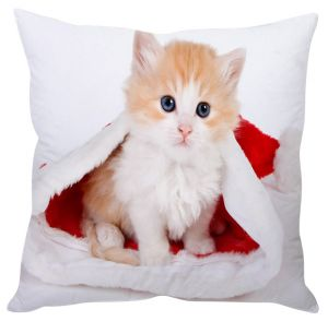 Stybuzz Cat In Santa Hat Cushion Cover