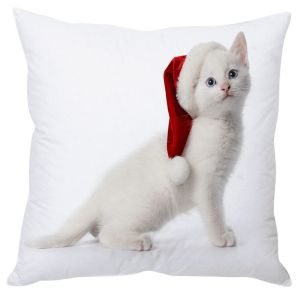 Stybuzz White Cat With Santa Hat Cushion Cover