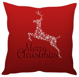 Stybuzz Merry Christmas Reindeer Red Cushion Cover