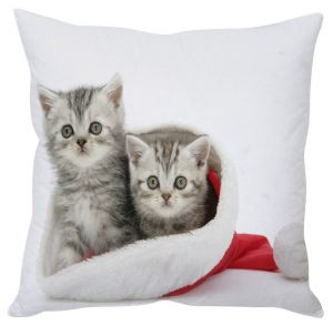 Stybuzz Two Kittens In Santa Hat Christmas Cushion Cover