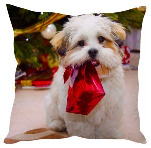 Stybuzz Puppy Playing With Christmas Gifts Cushion Cover