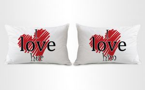 Stybuzz I Love Her And Him Couple Pillow Covers