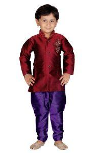 "Top & bottom sets - Divinee Boy""s Maroon Art Silk Readymade Indowestern Suit-(Code-B_101)"
