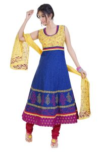 Divinee Blue And Yellow Cotton Readymade Anarkali Suit - (product Code - F_127_blue)