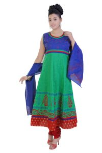 Divinee Green And Blue Cotton Readymade Anarkali Suit - (product Code - F_127_green)