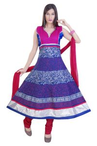 Divinee Blue Cotton Readymade Anarkali Suit - (product Code - F_128_blue)
