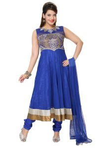 Divinee Royal Blue Art Silk Shimmer And Net Readymade Anarkali Suit - (product Code - F_156)