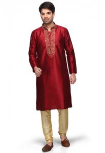 Divinee Maroon Art Dupion Silk Readymade Kurta With Churidar - (product Code - 1002_dm_517)