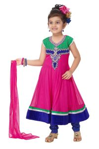 Divinee Fuchsia And Green Net Readymade Anarkali Suit-(code-s_133)