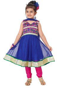 Salwar kameez,anarkali suits & kurtis - Divinee Blue Net Readymade Anarkali Suit-(Code-S_134_Blue)