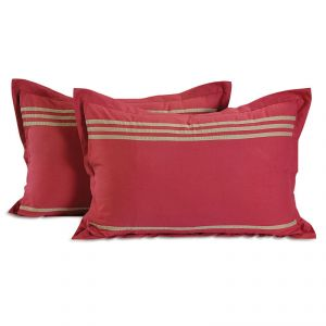 Fabulloso Maroon Colour Stripe Hype Pillow Cover Set