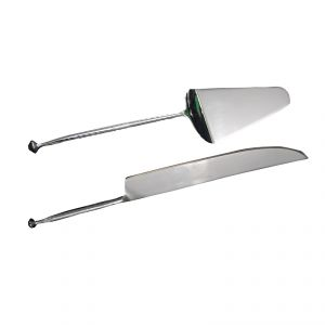 Fabulloso Hammered Stainless Steel Cake Server And Knife Set