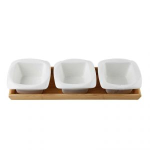 Fabulloso Symphony Ceramic Bamboo Square Serving Bowl - 4 Pieces