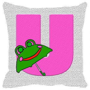 Fabulloso Leaf Designs Alphabet Cushion Cover U - 18x18 Inches