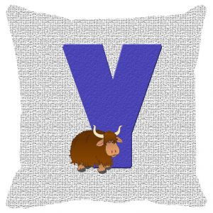 Fabulloso Leaf Designs Alphabet Cushion Cover Y - 16x16 Inches